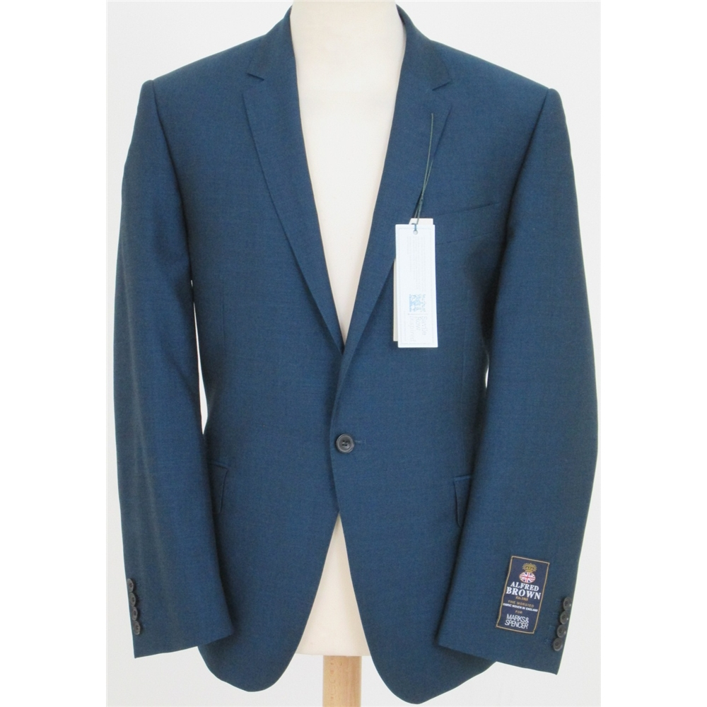 """NWOT M&S Savile Row inspired size: 38""""L teal single breasted suit jacket, used for sale  Milton Keynes"""