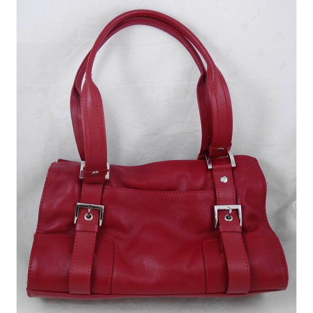 Debenhams Red Leather Handbag Loading Zoom