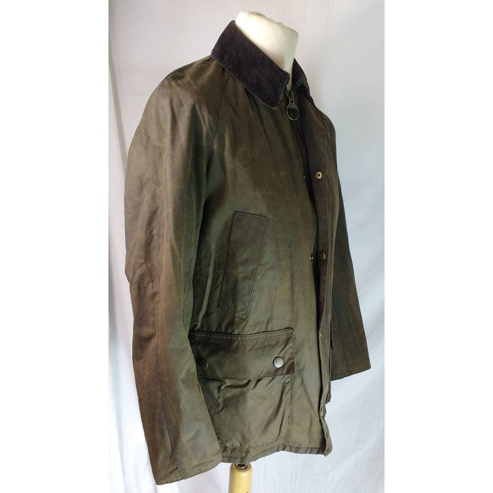995c5d12e Barbour 'Ashby' Olive Waxed Jacket, Size S (Small), Tartan Lining Barbour -  Size: S - Green - Jacket | Oxfam GB | Oxfam's Online Shop