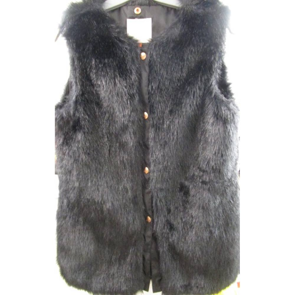 5b7b80513b9e59 Debenhams (Baker by Ted Baker) Age 13 Years Black Faux Fur Gilet ...