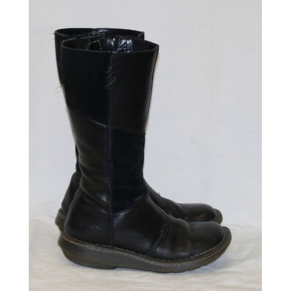 8c2b4417c46d Ladies Black Leather and Suede Wedge Heel Dr Martens Calf Boots Size 4 37