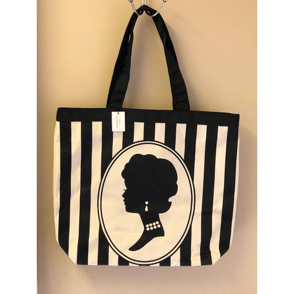 Lulu Guinness Black Cameo Stripe Lily Tote Bag Loading Zoom