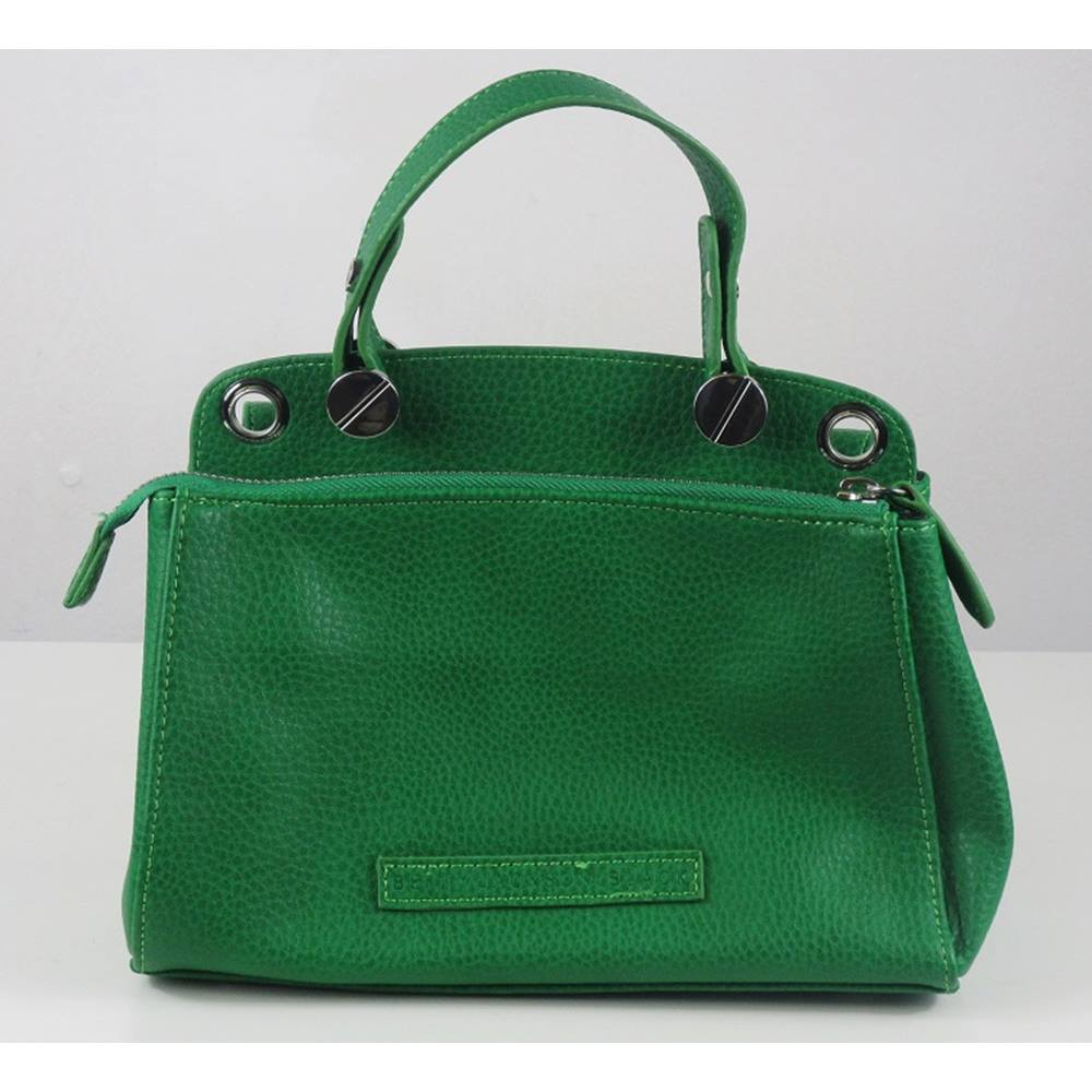 Betty Jackson Black Green Leather Handbag With Silver Metal Clasp Size Loading Zoom