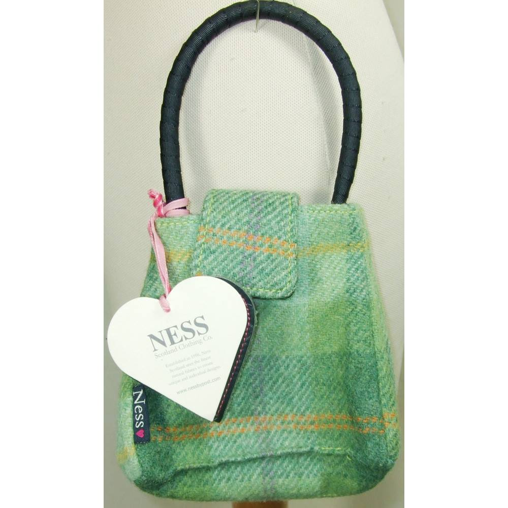 Bnwt Ness Scotland Clothing Co Small Green Tweed Bag Loading Zoom