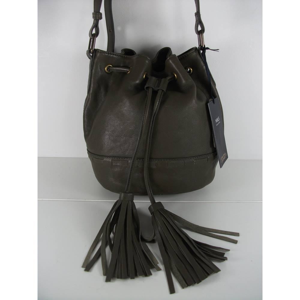 92b380c23d4da2 Marks & Spencer Olive Green Leather Shoulder Bag | Oxfam GB ...