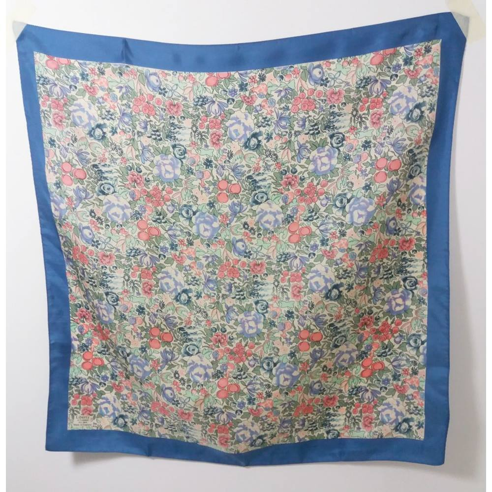 79e039023b6ba Vintage Liberty of London Cornflower Blue & Floral Square Silk Scarf    Oxfam GB   Oxfam's Online Shop