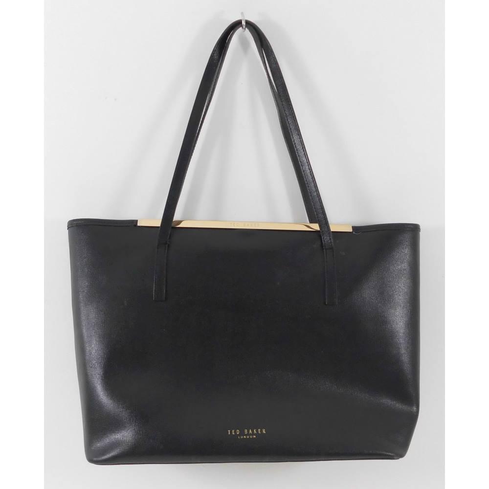 cdecb72c029b56 Ted Baker Large Black Leather Tote Bag. Loading zoom