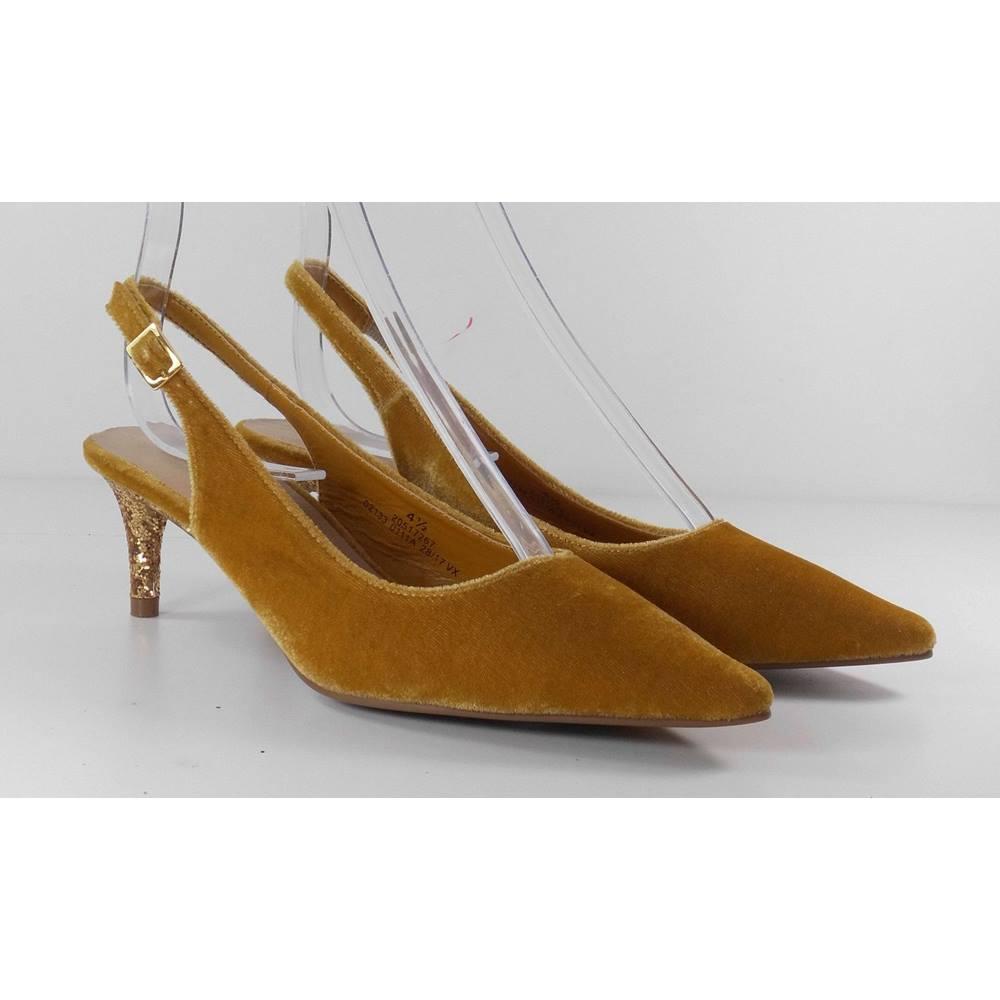 edc3cb06bfd70 Marks & Spencer Gold Velvet Sling Back Shoes with Gold Glitter Heel Size  4.1/2 | Oxfam GB | Oxfam's Online Shop