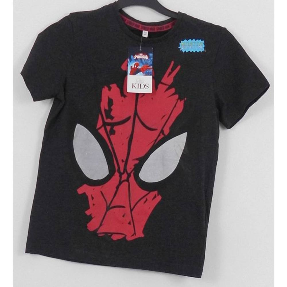 70604d32 Marks & Spencer Size: 7 - 8 Years Grey Spiderman Short sleeved T-shirt.  Loading zoom