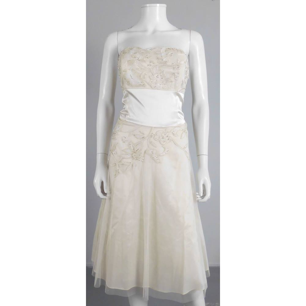Amazing monsoon size 14 cream embroidered knee length for Oxfam wedding dress shop