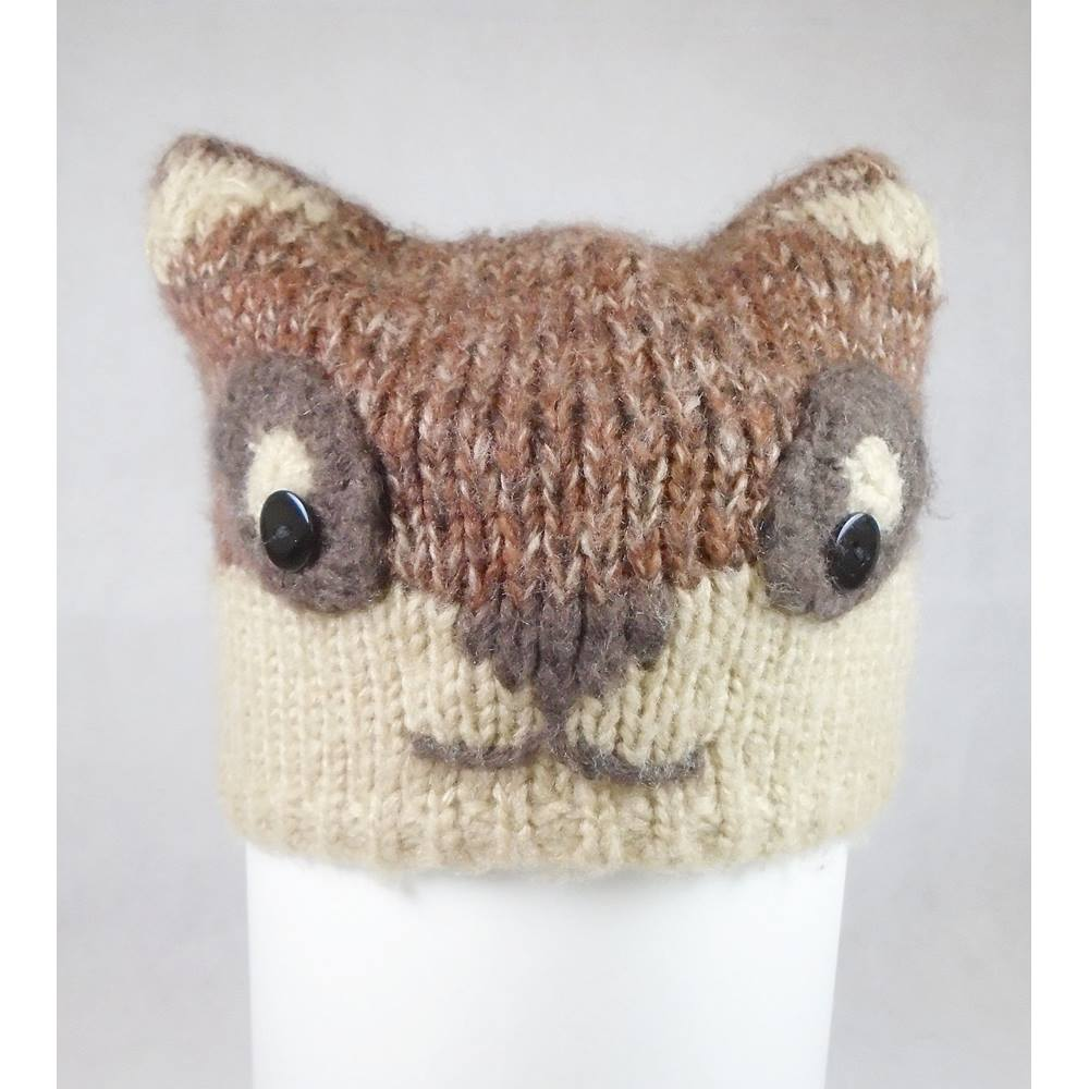 Matalan One Size Beige   Brown Knit Fox Wooly Hat. Loading zoom 7bfee56d8b8