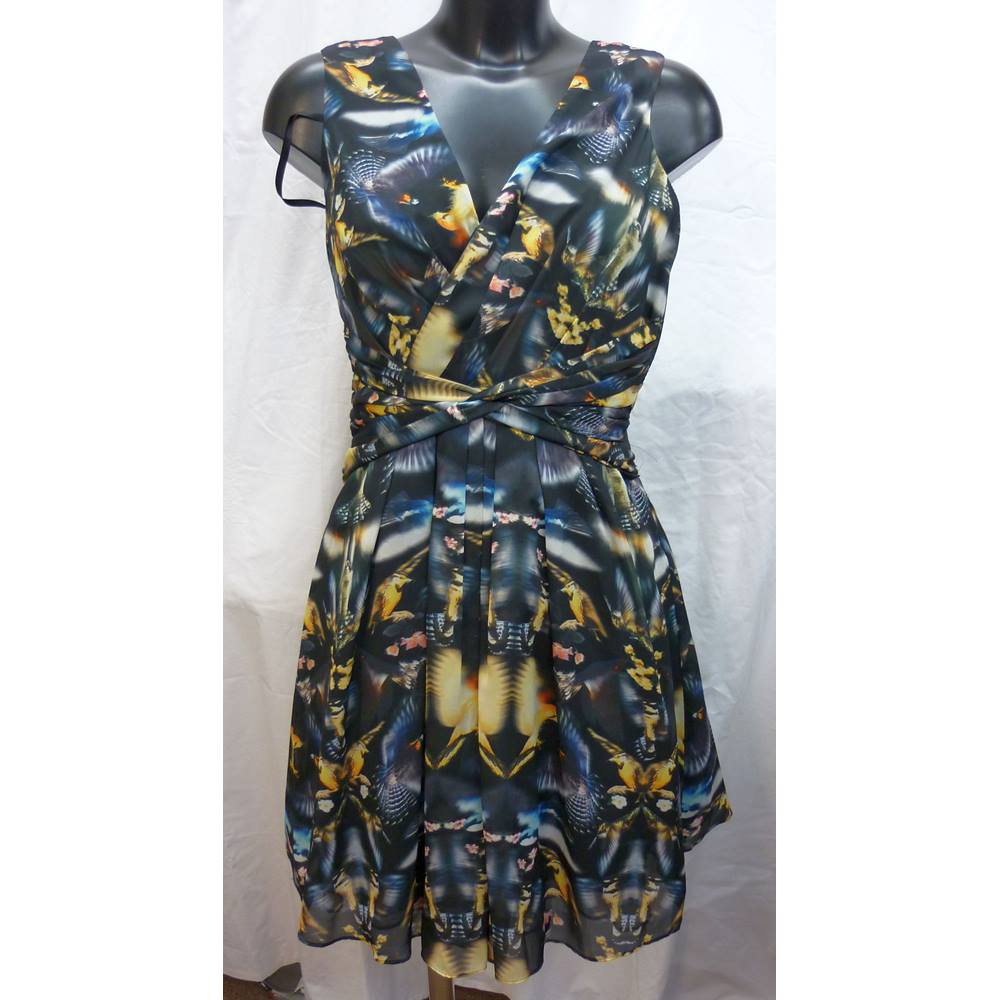 fb65abebd139f0 Ted Baker Size 0 XS Bird Graphic Printed Dress Ted Baker - Black - Evening  dress