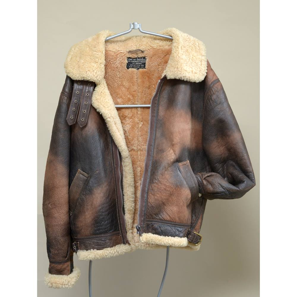 c8ed1b910 Vintage style Sheepskin Leather B-3 Flying Jacket by Toff of London | Oxfam  GB | Oxfam's Online Shop