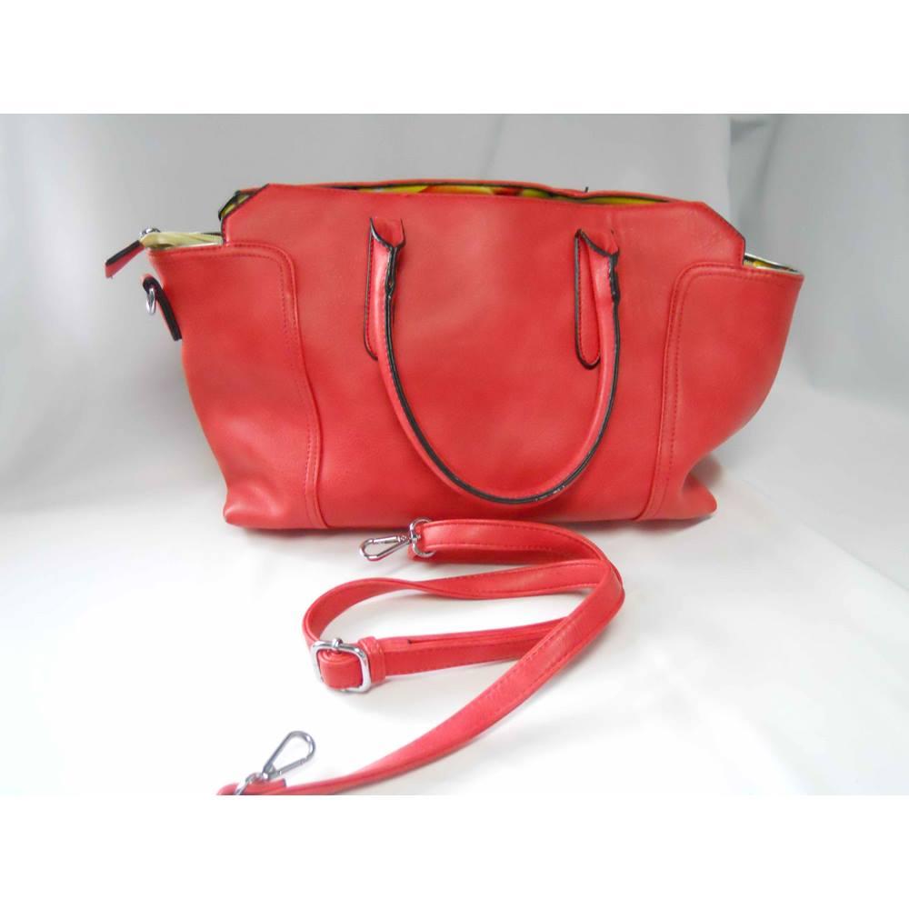 Bnwt Bessie London Medium Size Orange Leather Bag Loading Zoom