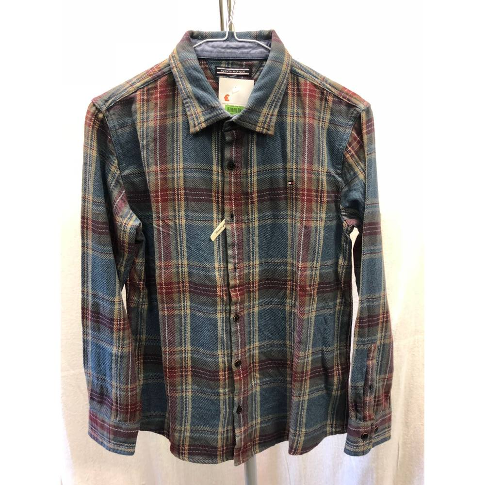 cf06919a9 Tommy Hilfiger Heavy Twill Check Boys Shirt Blue (New with tags). Ref #