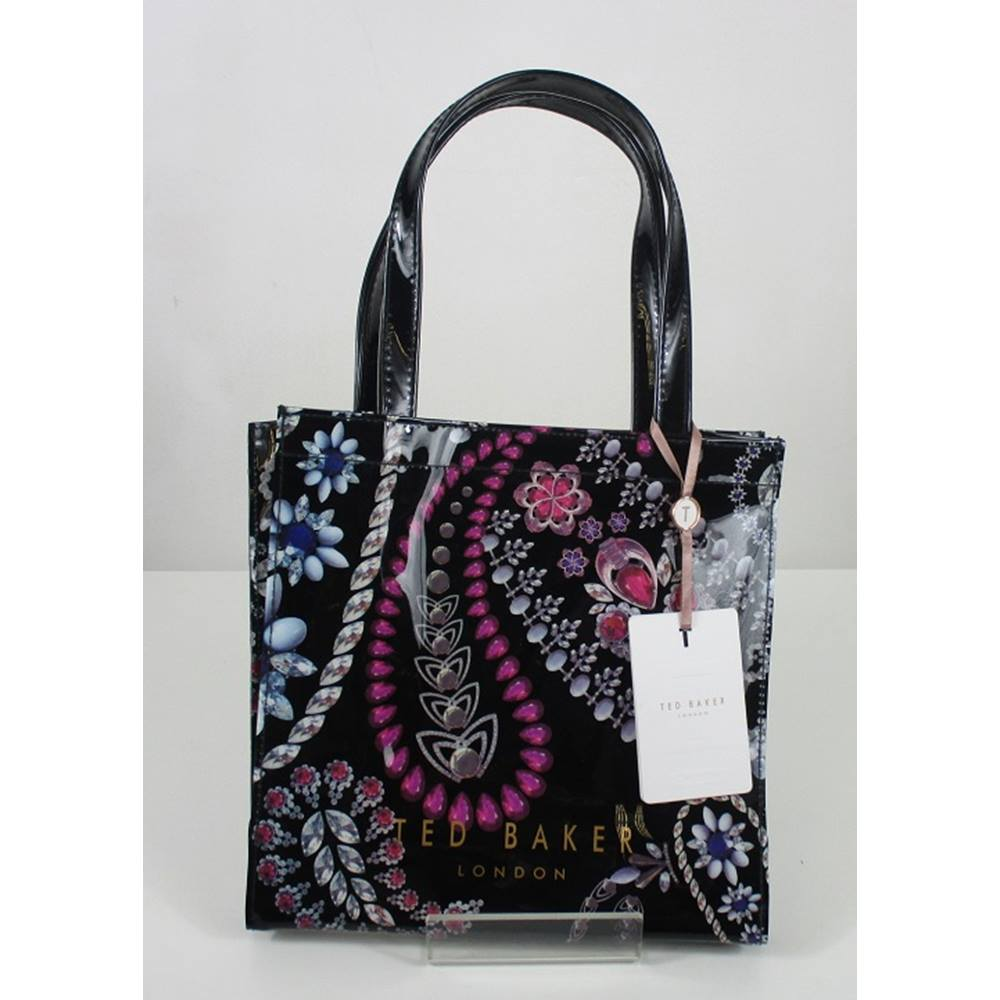 aaf37424ffe898 Ted Baker Black Plastic Handbag with Pink and Purple Jewel Pattern Ted Baker  - Size