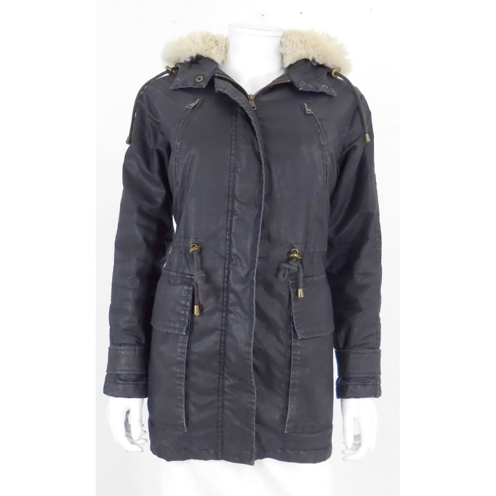 Whistles Size S Waxed Effect Black Cotton Coat | Oxfam GB ...