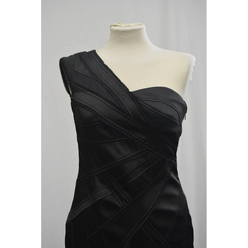 72f5c3fc5a Oxfam Shop New Mills Karen Millen black, fitted bodice, one shoulder pencil  dress. Embroided lace pattern wrapped around the dress with one single zip  down ...