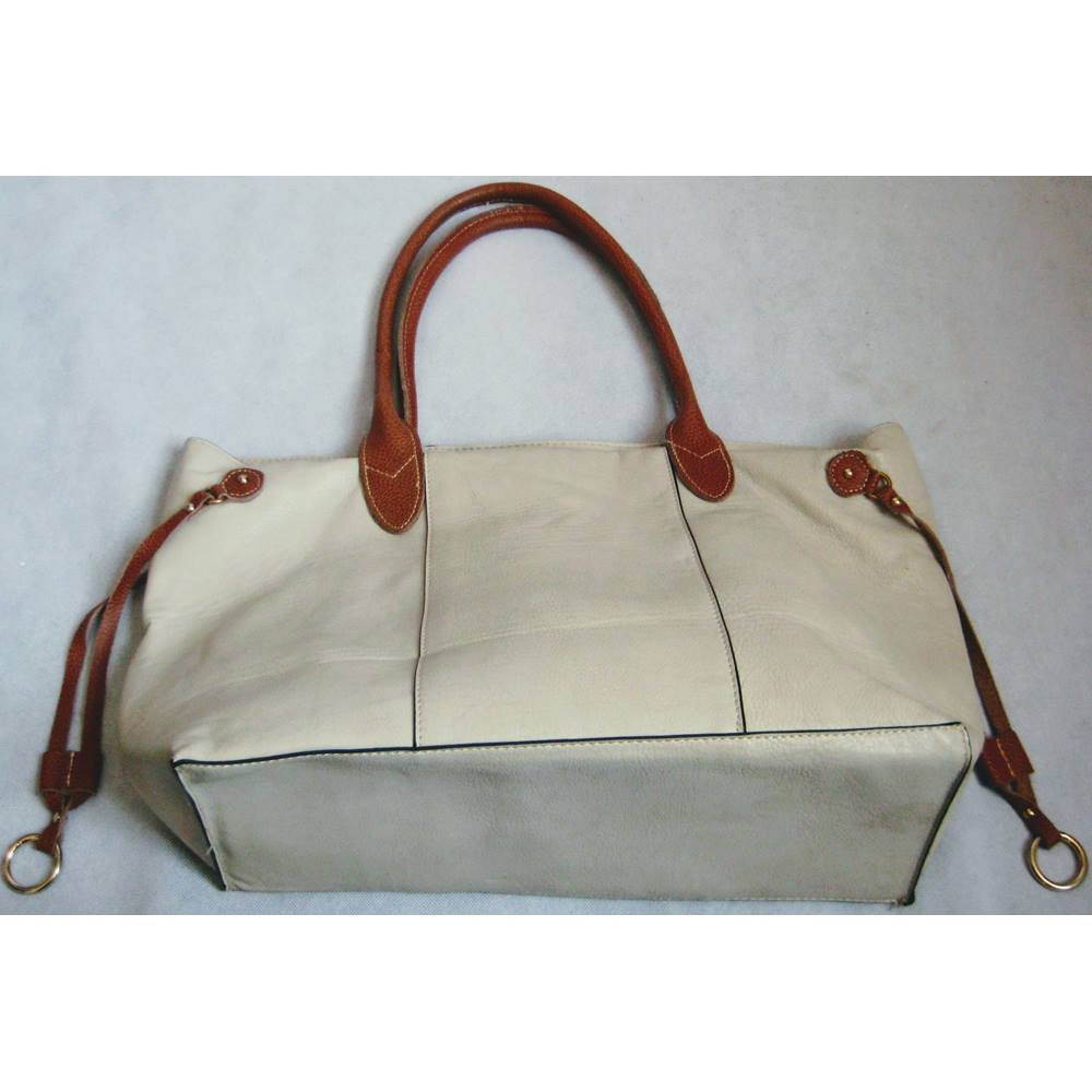 036a2bd8d6 Cream large faux leather tote bag with leather trim Unbranded - Size ...