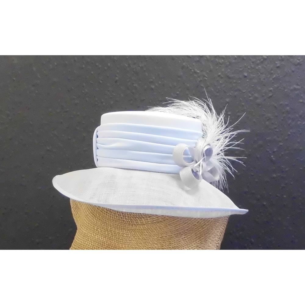 a43b35198bd Ladies wedding hat in pale blue and silver grey. Cappelli Condici - Size  M.  Loading zoom. Rollover to zoom