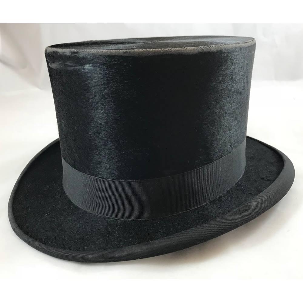8220134891cd9 Vintage Black Silk Top Hat