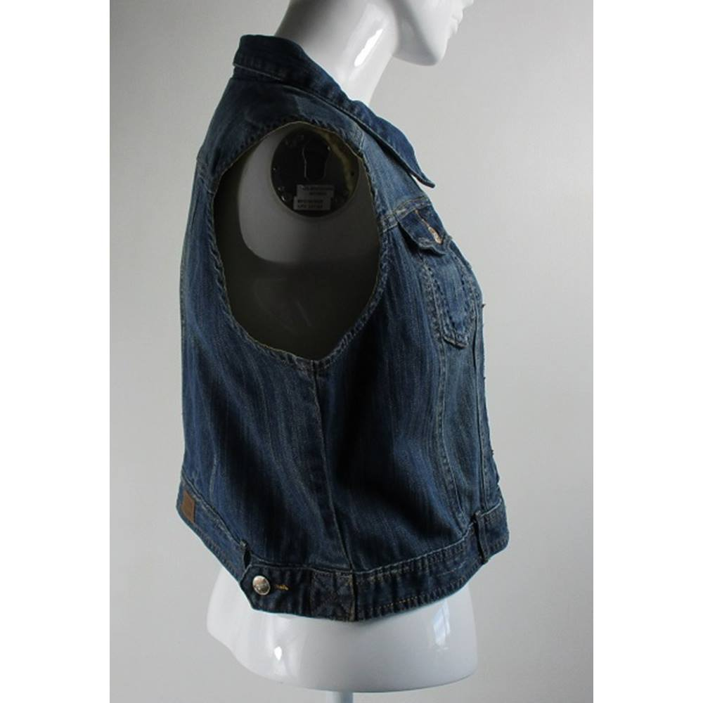 6b8b829d4a24d Rollover to zoom. Falmer Heritage Sleeveless Short Blue Denim Jacket Falmer  Heritage - Size  18 ...