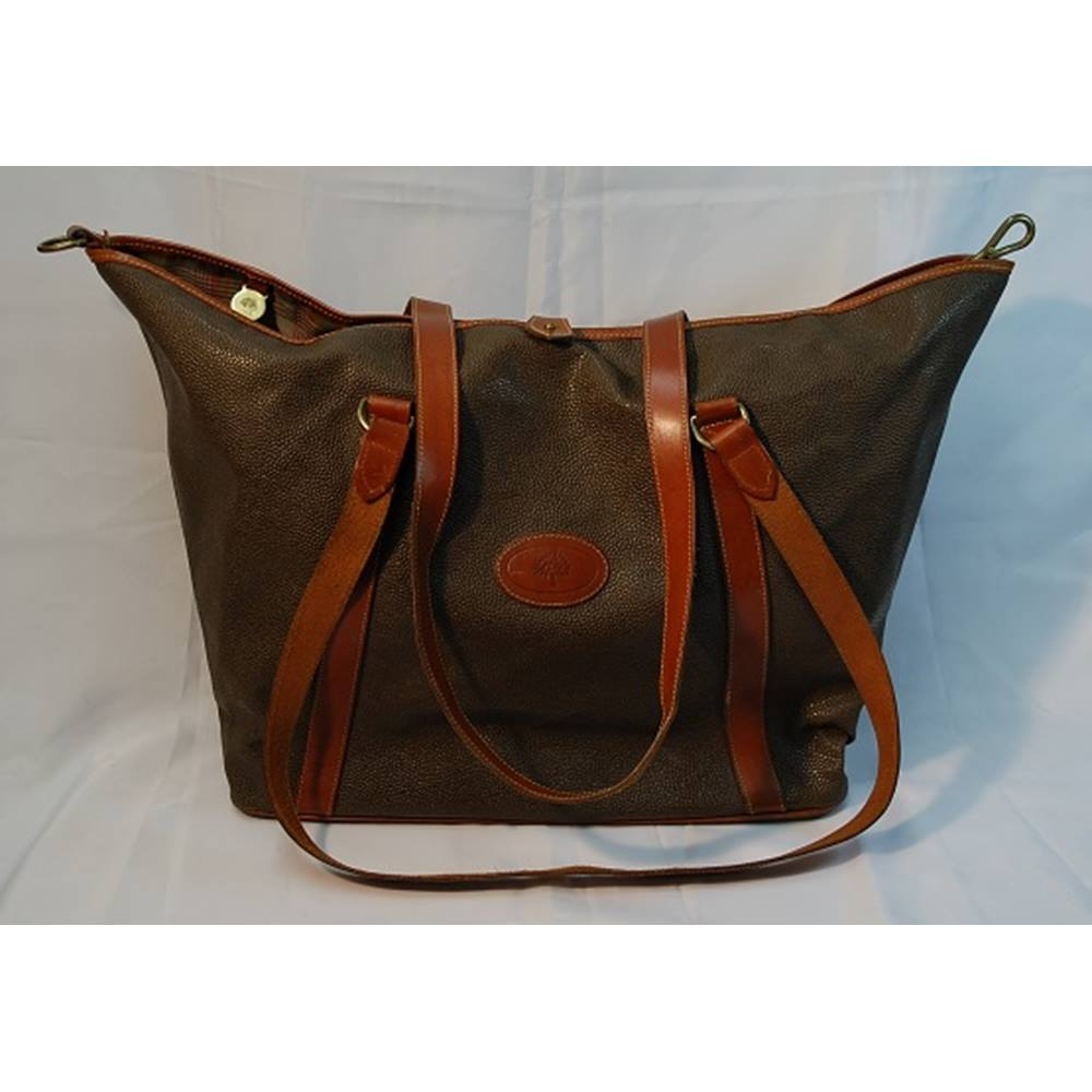 02a46b4b626 authentic vintage mulberry large scotchgrain leather tote bag