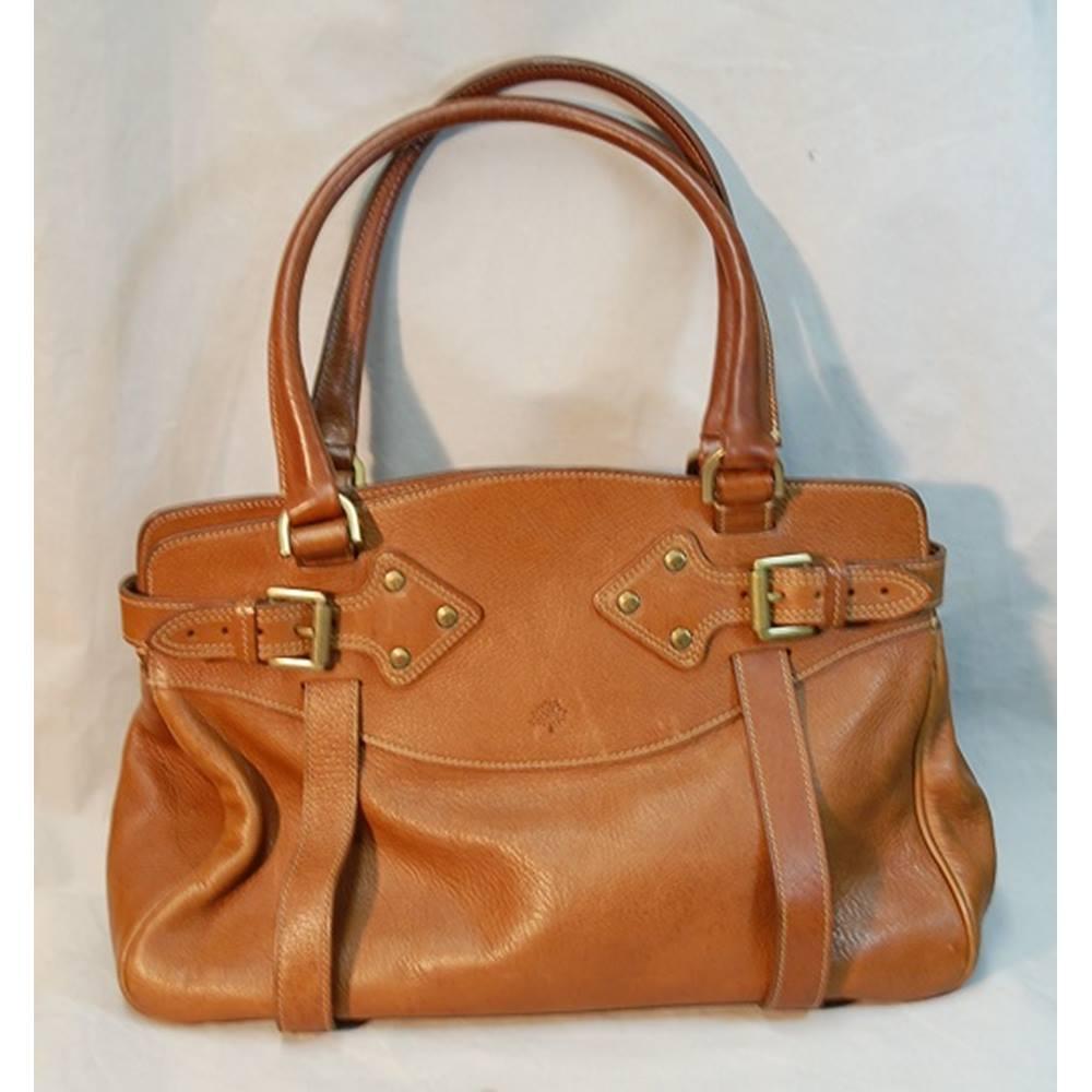 951450001381 Authentic Vintage Mulberry Cognac Brown Leather Handbag