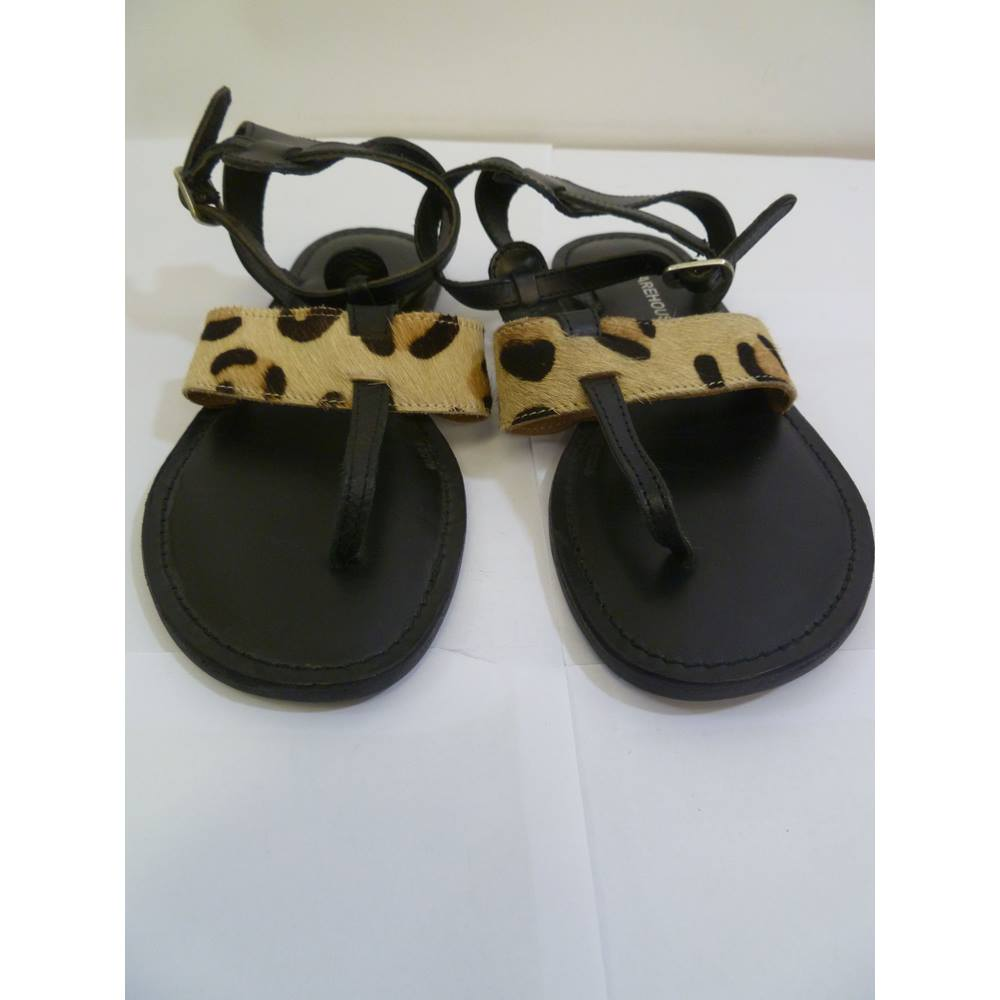 d2437c26bc51 BNWT Warehouse size 5 Leather Animal Print Sandals | Oxfam GB ...