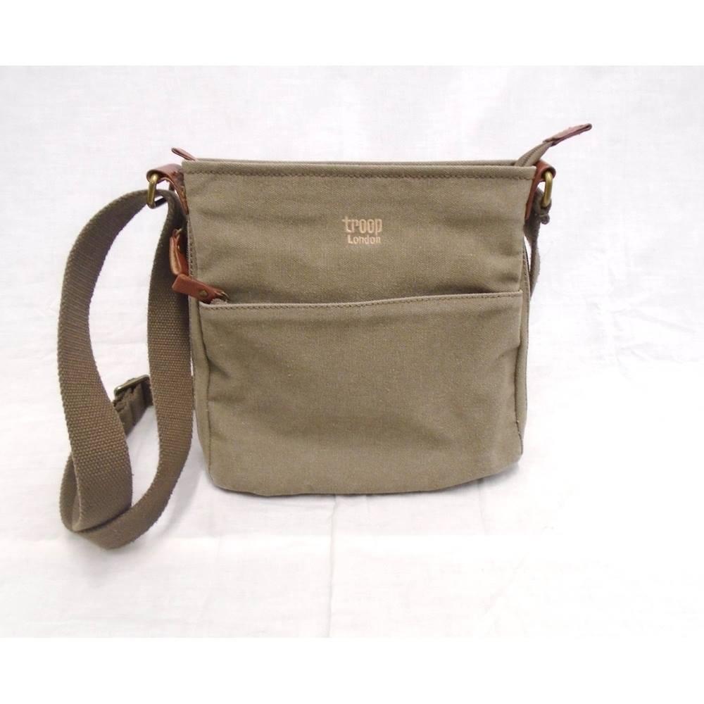 Troop London Green Khaki Canvas Messenger Bag Loading Zoom