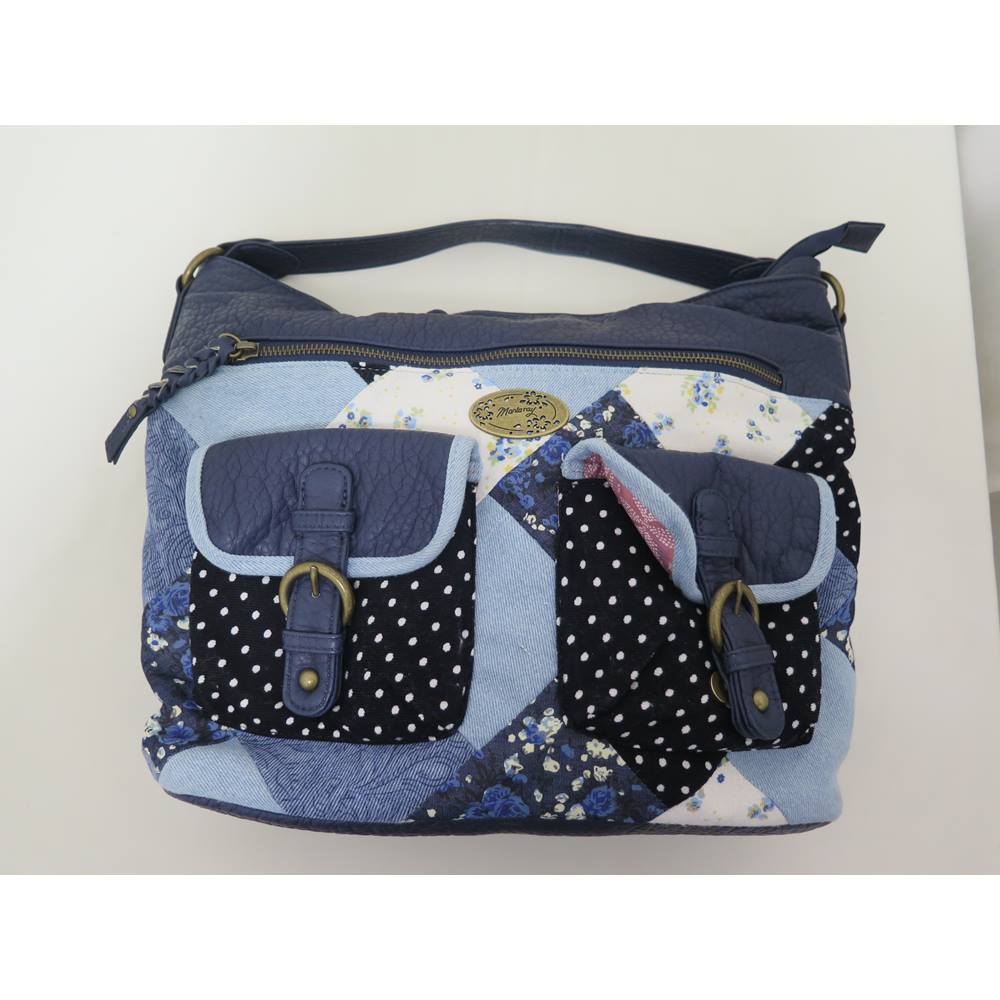 Mantaray Blue Leather And Patchwork Tote Bag Loading Zoom