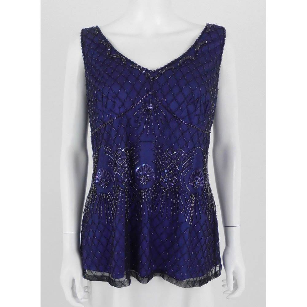 a6f29220935 Vintage 1990 s Planet Size  16 Purple  Sheer Black Heavily Beaded Top.  Loading zoom
