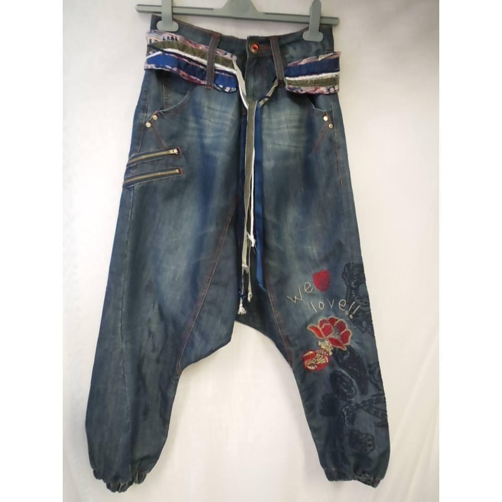 Desigual Harem Jeans Waist 26 28 Size Blue Loading Zoom
