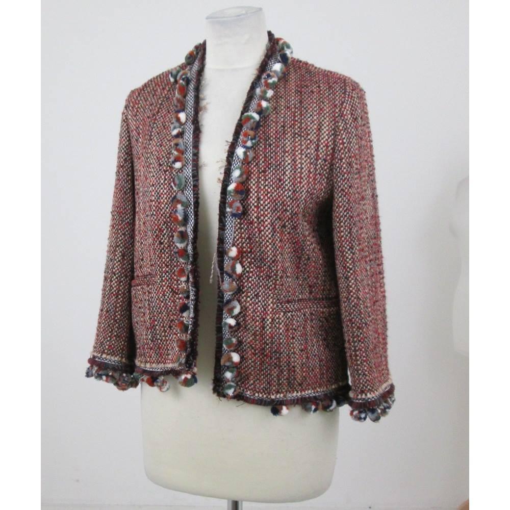 f2ad17b3 BNWT Zara Woman - Size: S - Red, brown, black with pompom jacket ...