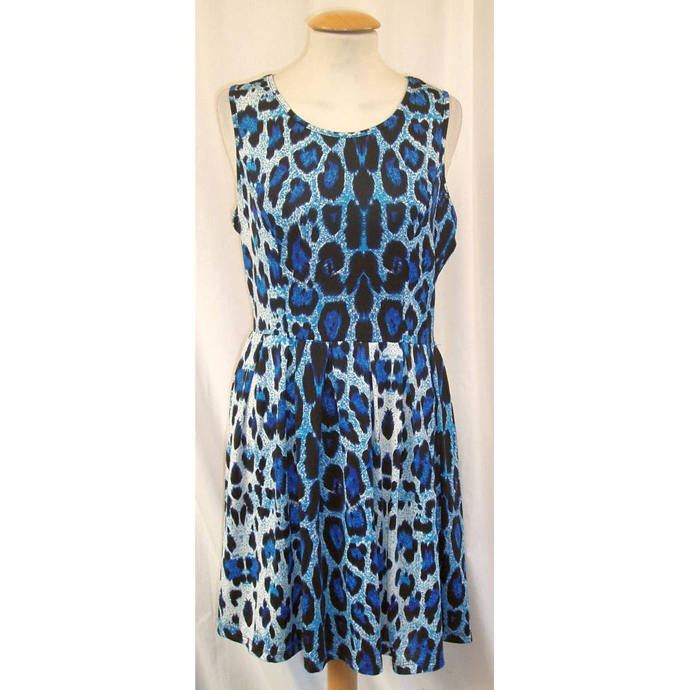 4710aaad3be BNWT Brave Soul Size S Short blue leopard print sleeveless fit and flare  dress For Sale in Cambridge