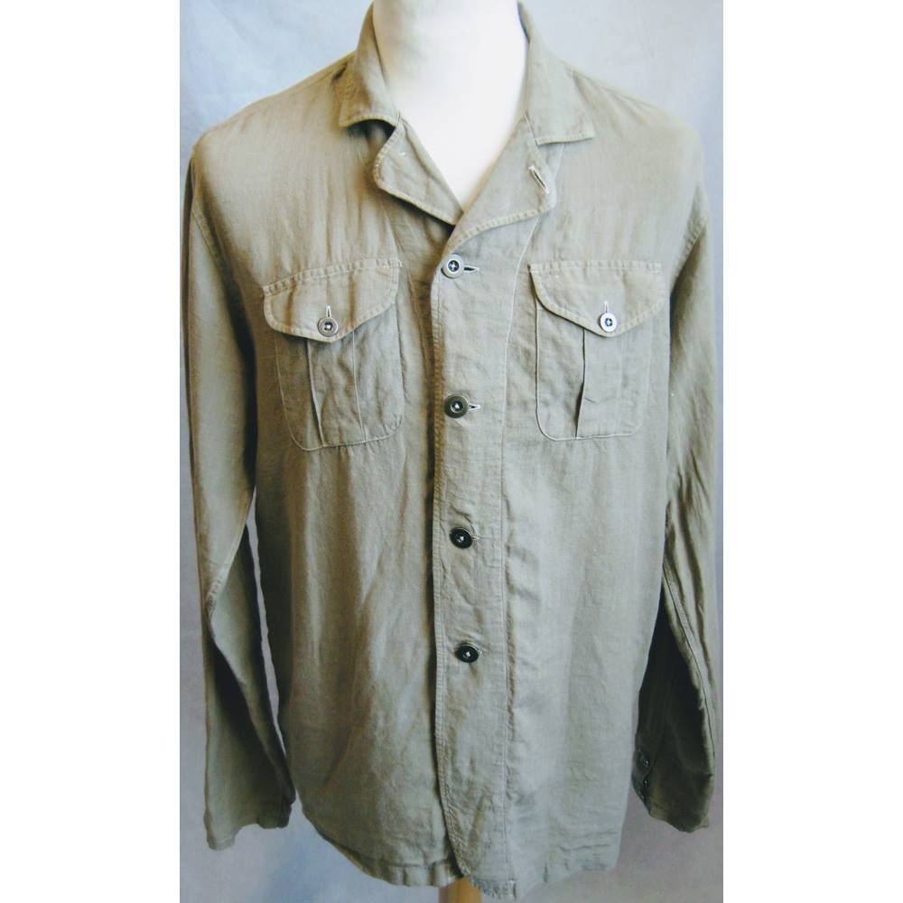 cb125024 Zara Man, Size M, Khaki Green Linen Jacket | Oxfam GB | Oxfam's ...