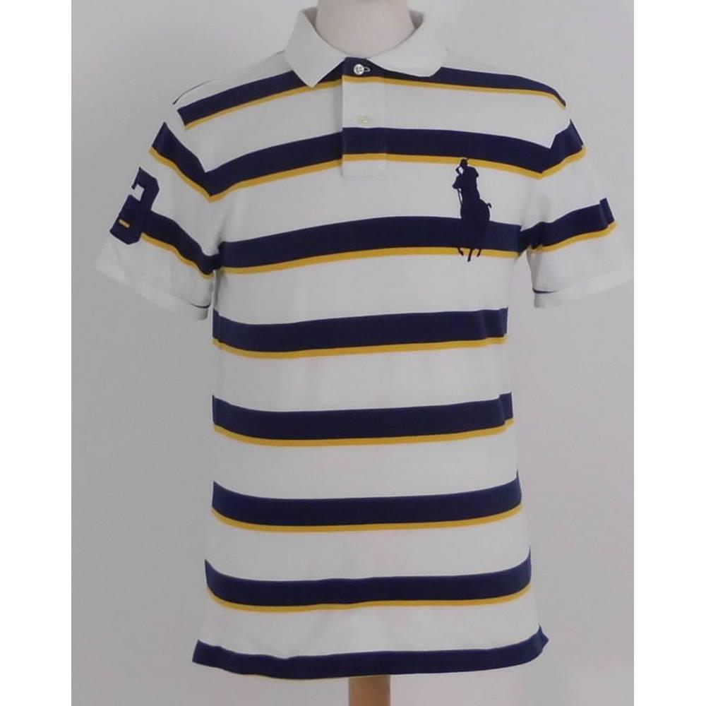 Men's Clothing Friendly Polo By Ralph Lauren Multi-color Striped Cotton Short Sleeve Shirt Large