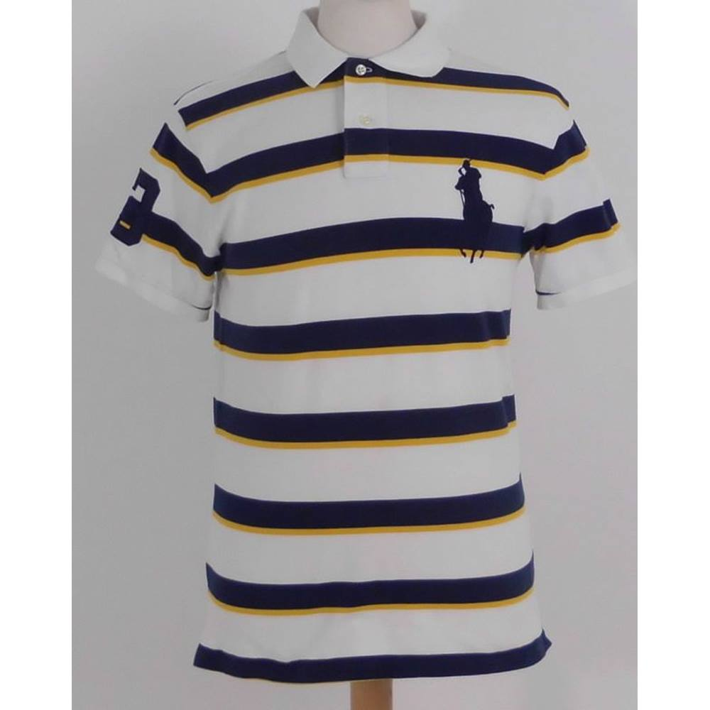 4575a7c38d6cd Polo Ralph Lauren Size Large White Navy and Yellow Striped Polo Shirt