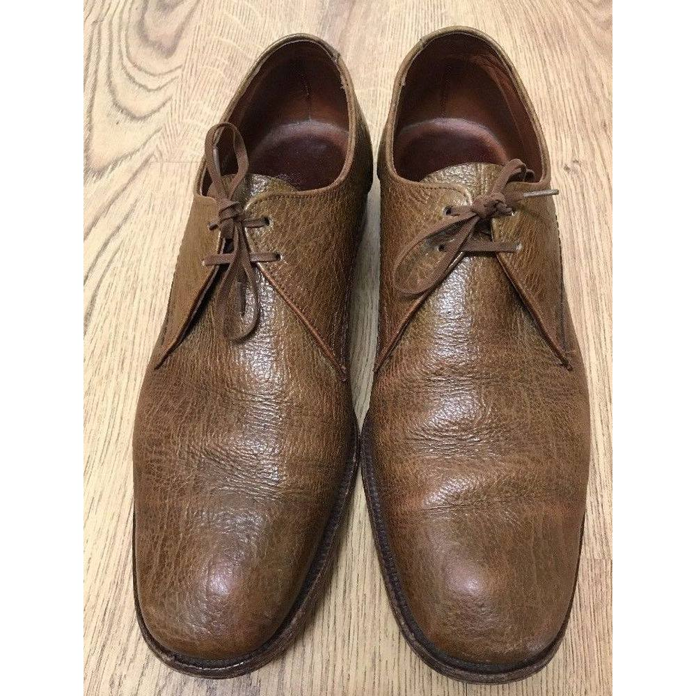 e9a37608642 Vintage Grenson Footmaster Brown Grained Genuine Antelope Leather Size 7