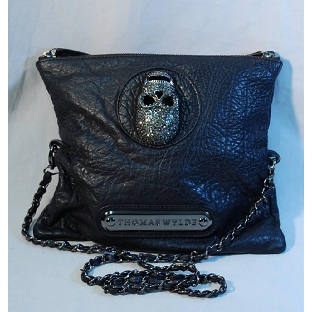 Designer Thomas Wylde Na Leather Crystal Skull Clutch Handbag Loading Zoom