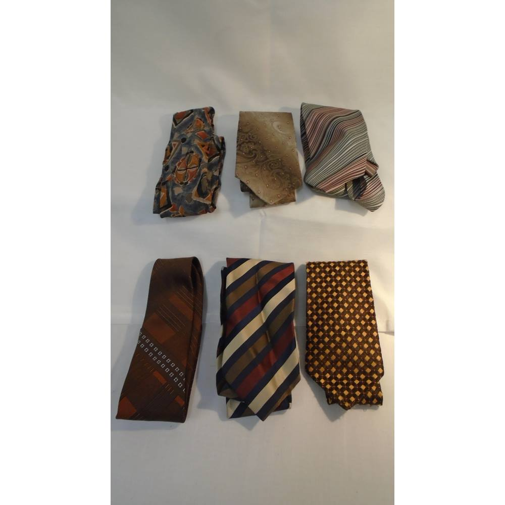 c158eec5172d9 JOB LOT 6 X VINTAGE/RETRO TIES BROWN THEMED 1940s WEEKEND Various - Size: M  - Multi-coloured - Tie | Oxfam GB | Oxfam's Online Shop