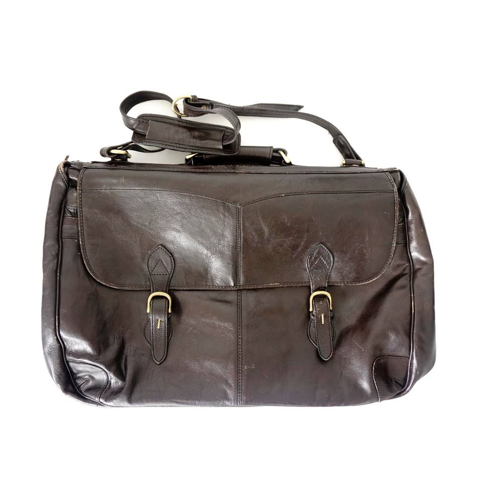 SCULLY Hidesign Brown Leather Briefcase Laptop Crossbody Messenger Bag H347 NWT