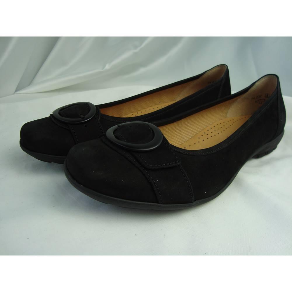 NWOT Gabor Hovercraft Black Suede Leather Flat Slip On Pumps - size ... 5e772a8bb8