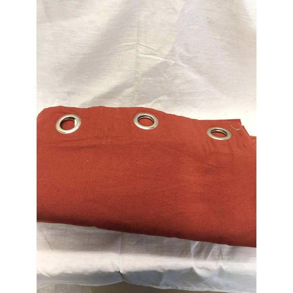 Heavyweight Cotton Eyelet Lined Terracota Curtain Pair