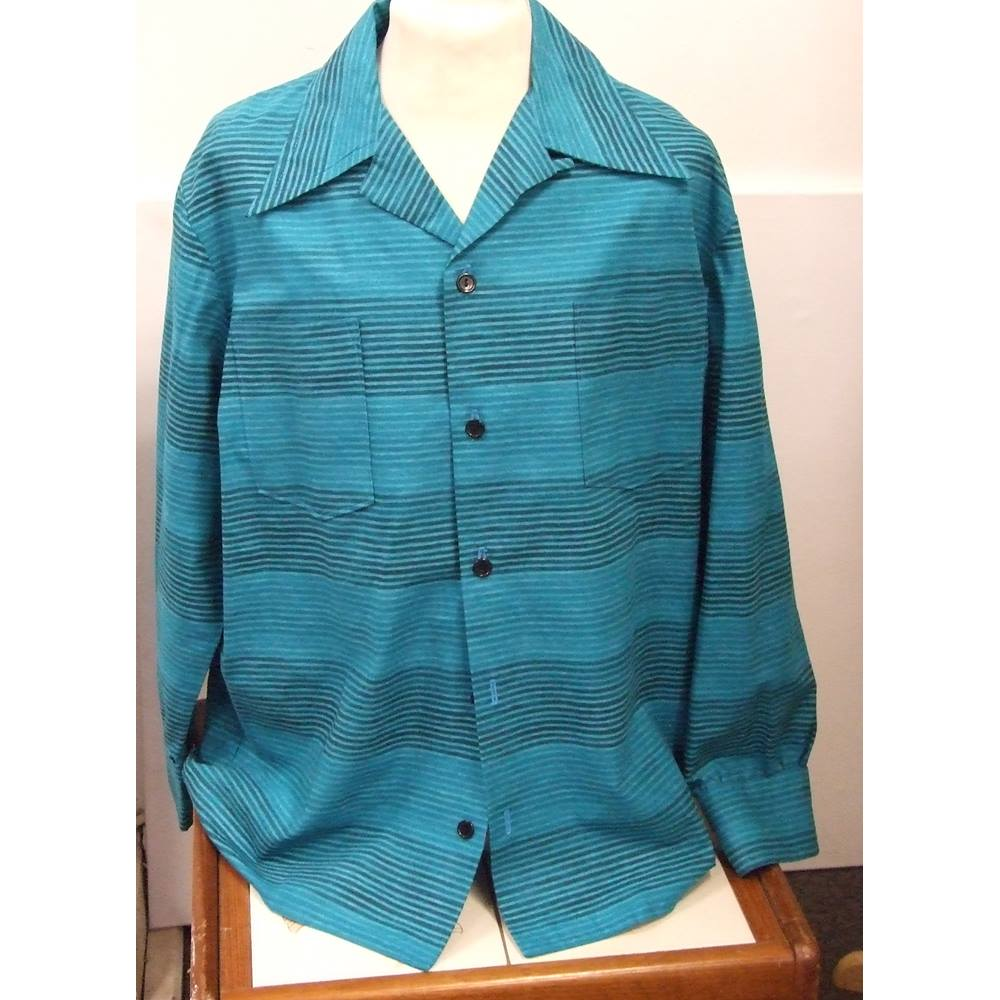 51eb35abe466e Vintage inspired men s blue striped Di Brooks casual shirt - Size  L - Blue  -. Loading zoom
