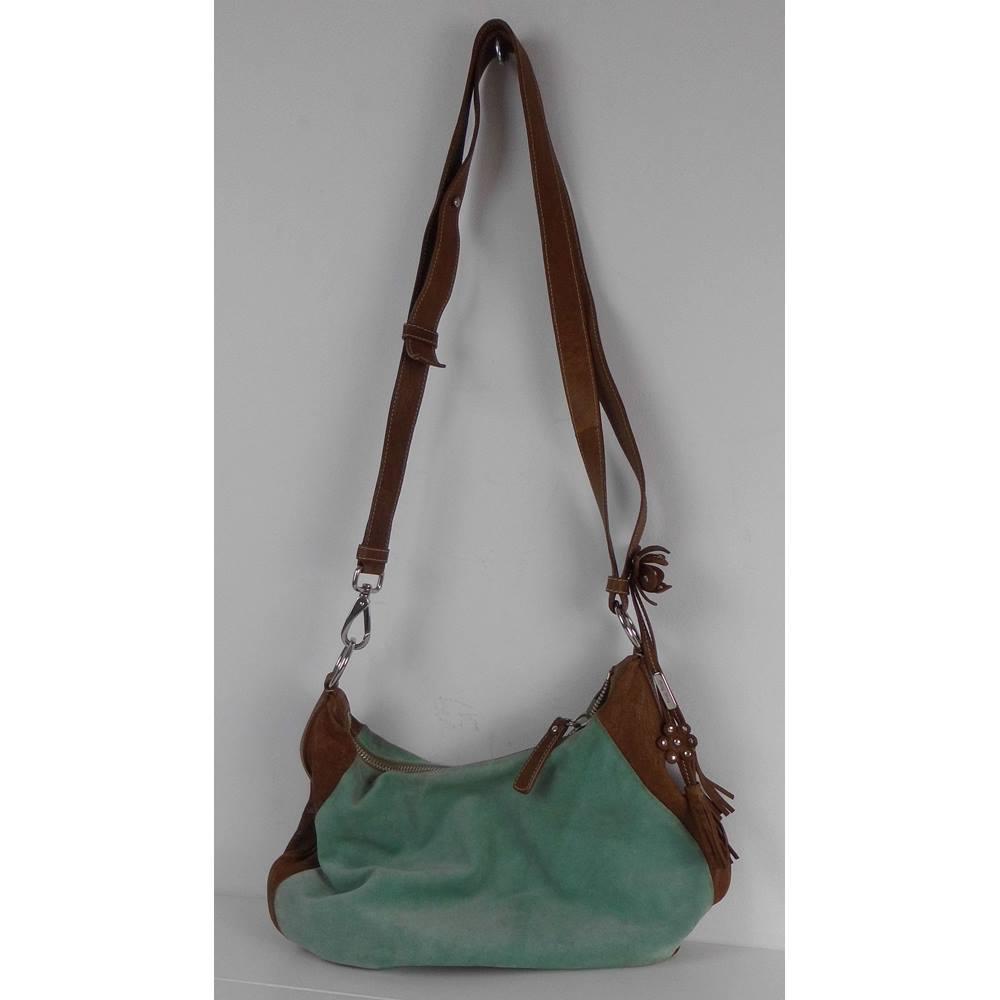 9769d4612 Miu Miu Mint Green Suede & Brown Leather Shoulder Bag   Oxfam GB ...
