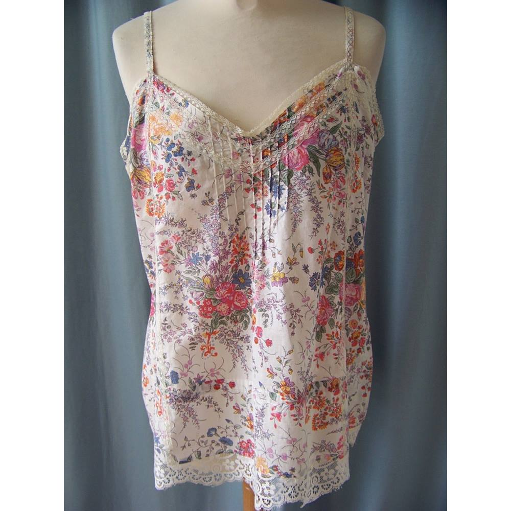 4e6e549fb2b912 Warehouse Size 12 White with Blue/Green/Pink Floral thin strap top ...