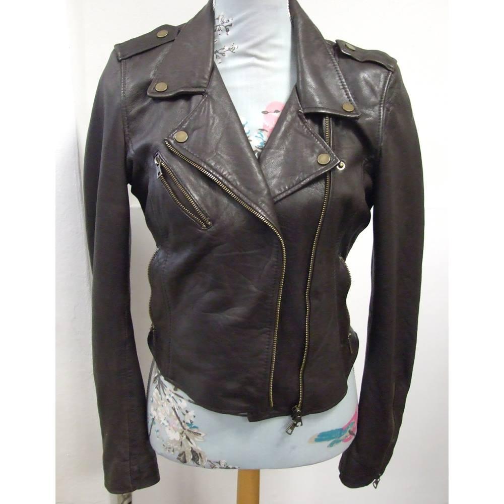 f01d707df Gorgeous Trafaluc Sheep Leather 'biker' jacket Zara - Size: L - Brown -  Jacket   Oxfam GB   Oxfam's Online Shop