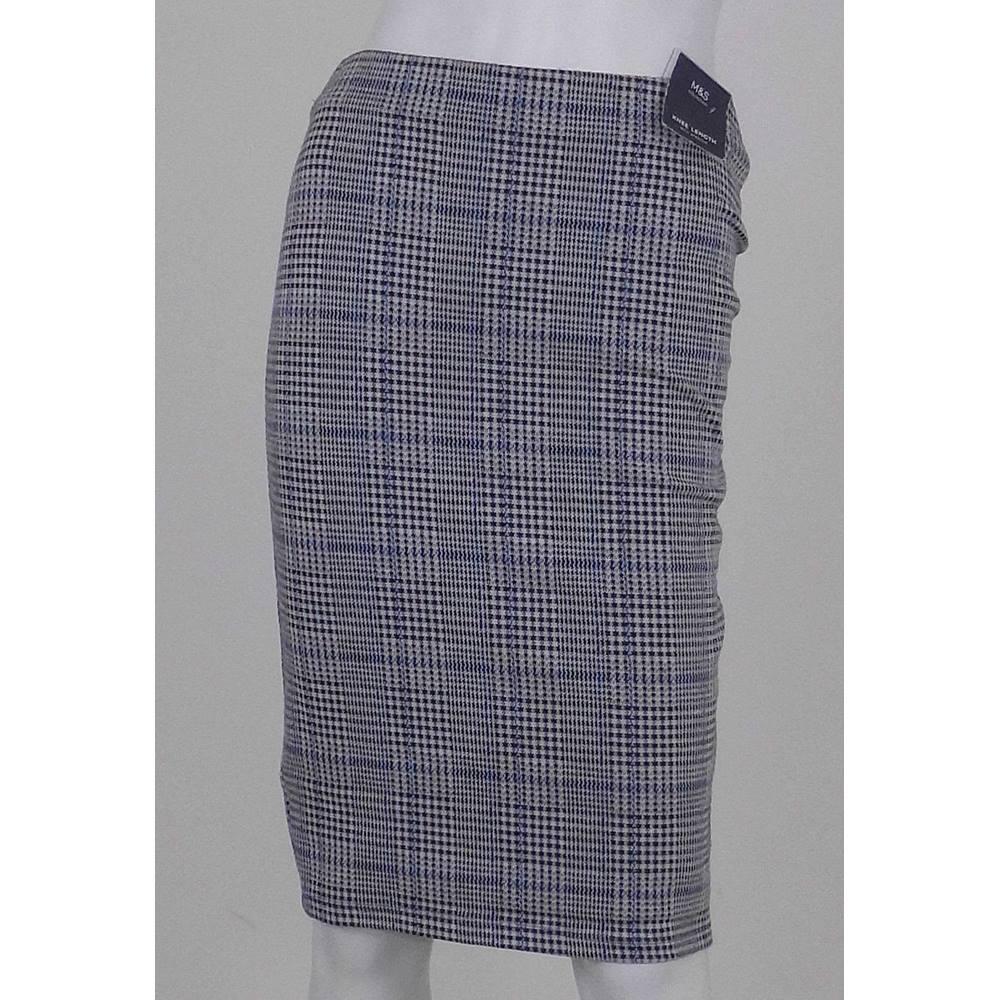 64f5e2f3572bd NWOT Marks   Spencer Collection Grey Black Blue Cream Stretch Knee-Length  Skirt UK Size 8 Regular.