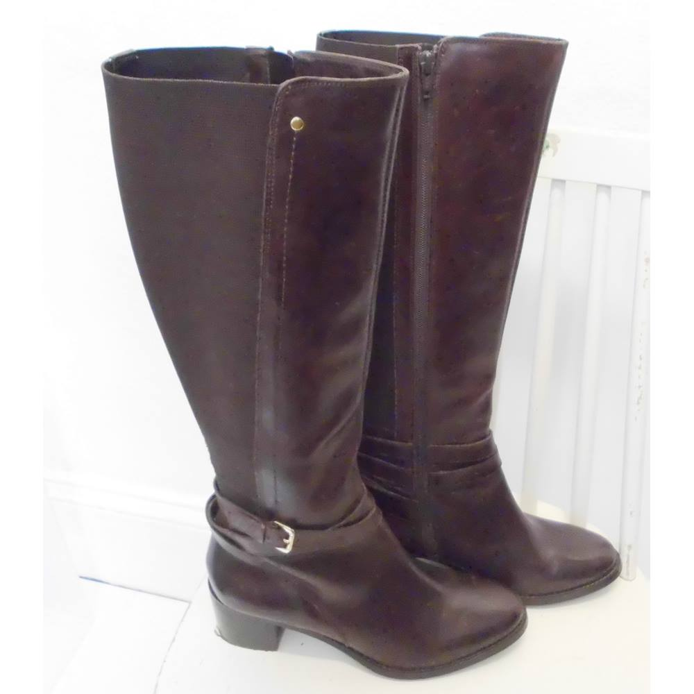 898084197c6 Dune long leather boots Brown | Oxfam GB | Oxfam's Online Shop